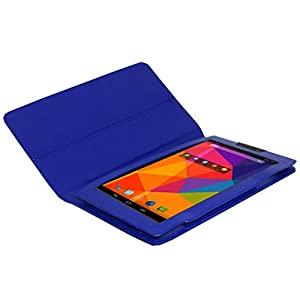 Acm Executive Leather Flip Case For Micromax Canvas Tab P480 Tablet Front & Back Flap Cover Stand Holder Blue