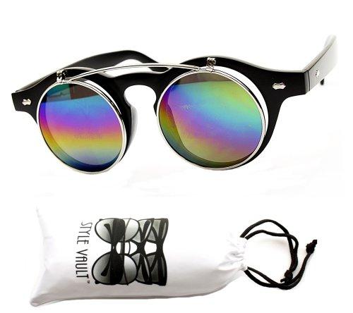 W83-vp Round Clear Sunglasses (Rv Black/silver-mirrored Rainbow, Uv400)