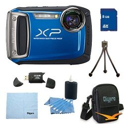 Fujifilm Finepix XP100 14MP CMOS Digital Camera 8 GB Bundle (Blue)