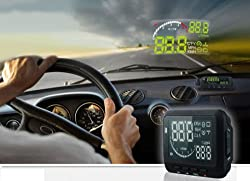Alria Universal LED Car HUD (Head Up Display ) With OBD2 Interface Plug & Play Speeding Warn System F2