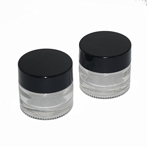 4 - Clear Glass Storage Jar Black Plastic Twist Off Lid 10-15ml (10 1 4 Lid compare prices)