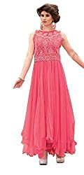 Clickedia Women's Georgette Semi Stitched Salwar Suit (Rani 1 Pink Gown _Pink_)