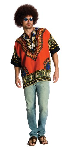 [Rubie's Costume Heroes And Hombres Men's Hippie Shirt And Wig, Orange, X-Large] (Hero Costumes For Men)