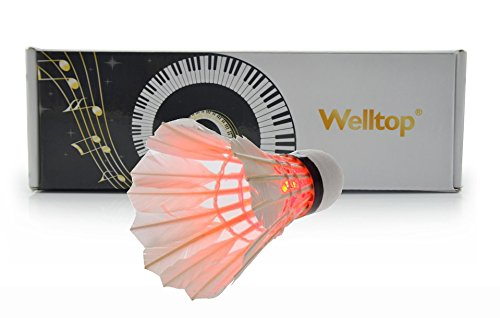Welltop®5 Pcs Brand New Led Badminton Shuttlecock Dark Night Glow Birdies Lighting For Indoor Sports Activities+Free Welltop® Corkscrew (Red)