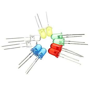 CroLED® LOT 100 DIODES ELECTROLUMINESCENTES LED DEL 5 COULEURS