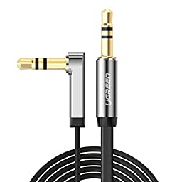 Ugreen 3.5mm Auxiliary Audio Flat Cable 90 Degree Right Angle Compatible for iPhone, iPad or Smartphones, Tablets, Media Players Black 3ft/ 1m