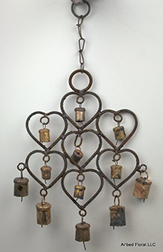 Hearts Wrought Iron Windchime Rustic Metal Bells - 12 (Hanging Bells Cast Iron compare prices)