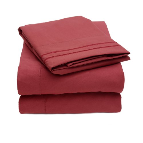 1500 Thread Count 4Pc Bed Sheet Set Egyptian Quality Deep Pocket - Queen, Burgundy back-590923