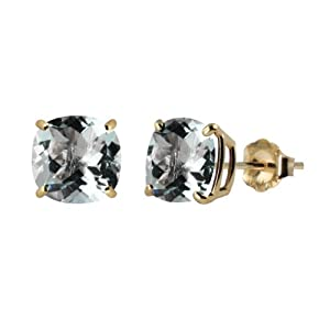 Checkerboard Cushion Aquamarine Gemstone Stud Earrings with 10k Yellow Gold