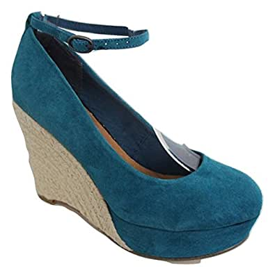 Amazon.com: MODA in PELLE Aqua Turquoise Blue Suede Leather Ankle