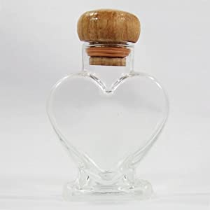 """4"""" Heart Shape Clear Glass Bottles with Wooden Cork Empty Origami Lucky Star Wish Stars Jar"""