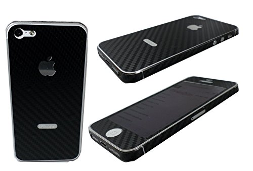 TCD for Apple iPhone 4 4S [BLACK] Carbon Fiber Vinyl Skin LIFETIME WARRANTY Wrap Decal FULL BODY and Side Sticker Set - Adhesive - NO sticky residue Compatible with Verizon, AT&T, T Mobile (Iphone 4s Skin Decal compare prices)