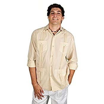 Beige Long Sleeve cotton blend Guayabera
