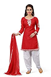 Red Cotton Embroidered Unstitched Dress Material
