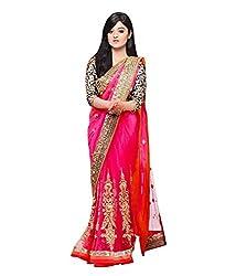 Z Hot Fashion Women's Printed Border work Saree In Net Fabric (ZHKN1058) Pink
