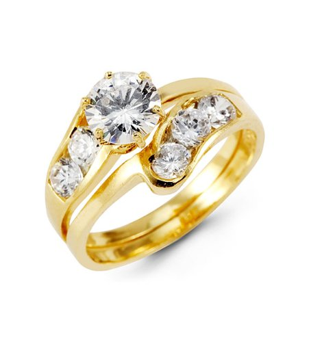 14k Yellow Gold Engagement Round CZ Wedding Rings Set