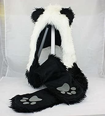 Panda Full Animal Hood Hoodie Hat Faux Fur 3 in 1 Function