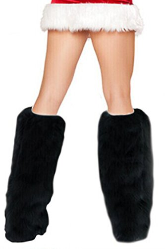 Pink Queen Lady Sexy Festive Fansy Fluffy Plush Faux Fur Costume Cosplay Christmas Leg Warmers