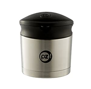 Planet Zak Thermal Double Wall Stainless Steel Vacuum Food Storage Container with Black Lid and Spoon, 10-Ounce