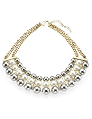 Per Una Eclipse Bead Pearl Effect Metal Necklace