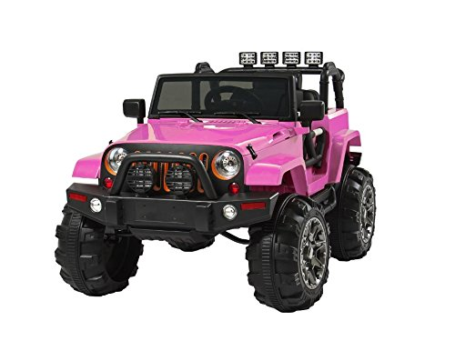 Pink-Jeep-Style-12V-Ride-On-Car-Truck-With-Remote-Control-3-Speeds-Spring-Suspension-LED-Lights