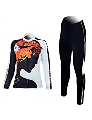 New Women's Outdoor Cycling Long Sleeve Jersey + Pants With 4D Padded M-XXL
