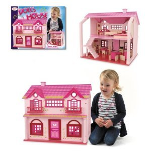 PINK WOODEN STUNNING TWO STORIES DOLL HOUSE