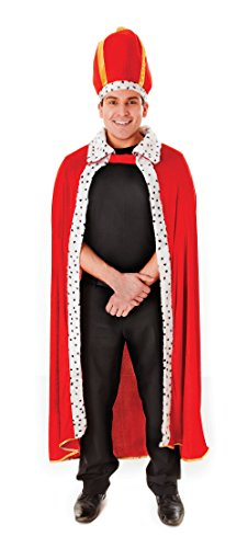 Bristol Novelty Red/White Kings Robe + Hat Adult Costume - Men's - One Size