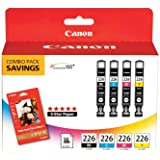 Canon CLI-226 4546B007 with PP-201 50 Sheets Combo Pack-Black/Cyan/Magenta/Yellow
