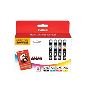 Canon CLI-226 BK,C,M,Y with PP-201 50 Sheets Combo Pack (4546B007)