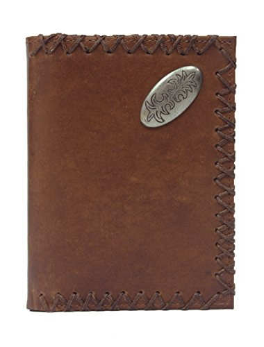 98004T-BRN Western Oval Concho Lace Cross-Stitched Trifold Fullgrain Leather Wallet