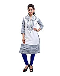 Classic Off-White Kurti Cotton Printed Floral Small For Womens By Rajrang