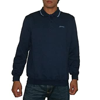 SLAZENGER Mens High Quality Thermal Sport Long Sleeve Polo Sweater - Dark Blue (Size: M)