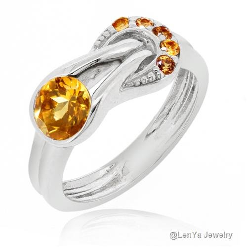 LenYa Special - Stunning new design, Engagement Sterling Silver Ring with Round Citrine (Main Stone), Round Sapphire, (Ring Size 6.5)