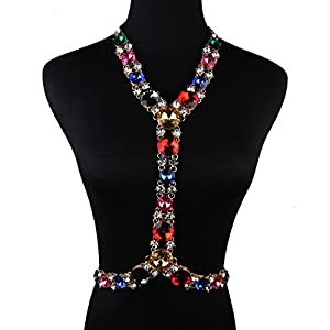 Holylove® Party Stuning Colorful Glass Statement Body Necklace- with Color Box