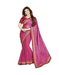 VinayTM Elegant Traditional Designer Georgette Brasso Lace Work Pink Saree Blouse Material