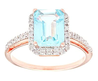 10k Rose Gold Octogon Blue Topaz and Diamond Ring (1/5 TDW)
