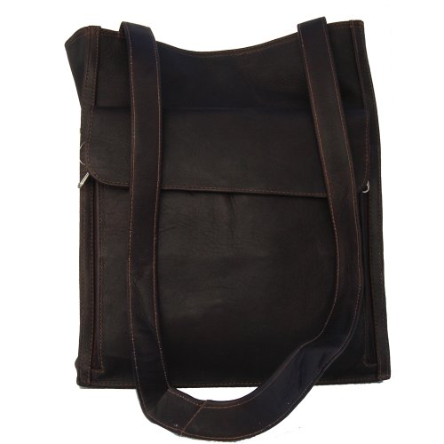Piel Leather Shoulder Tote Organizer, Chocolate, One Size