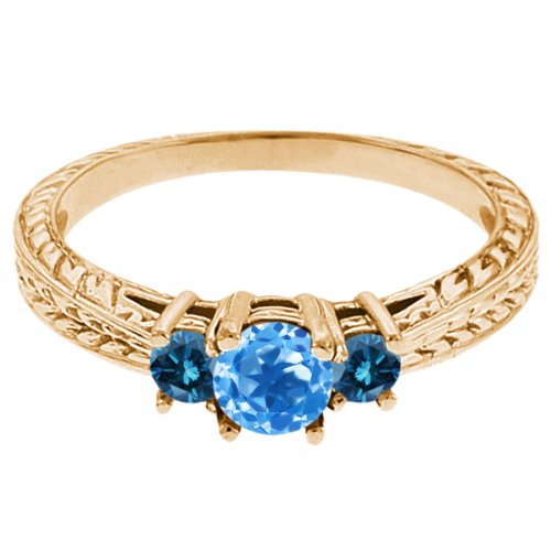 0.57 Ct Round Swiss Blue Topaz Blue Diamond 14K Yellow Gold 3-Stone Ring