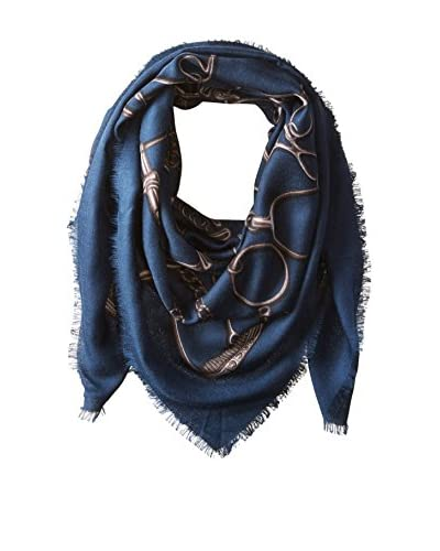 Gucci Men's Patterned Scarf, Navy