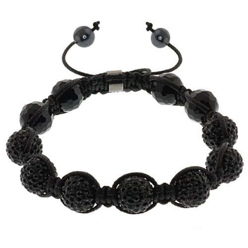 Iced Out 10mm Black Beaded Adjustable Bracelet + Gift Box