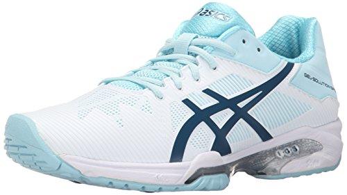 ASICS Women's Gel-Solution Speed 3 Tennis Shoe, White/Blue Steel/Crystal Blue, 9.5 M US