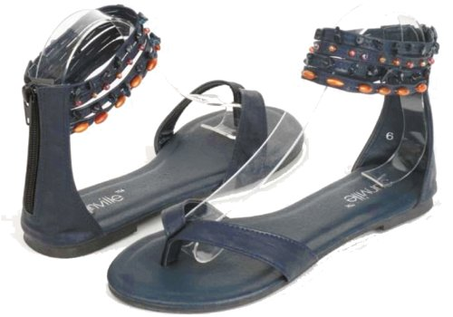 Fashion Thong Flip Flops With Beaded Ankle Straps And Back Zipper Closure (6, Navy)