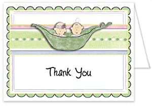 3D 2 Peas In a Pod Mixed Baby Thank You Cards - Set of 20
