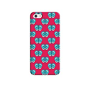 Kawach Case/Back Cover for Apple iPhone 5/5S - Pink Blue Butterfly Printed Case
