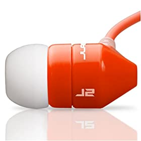 JBuds J2 Premium Hi-FI Noise Isolating Earbuds (Red/White)