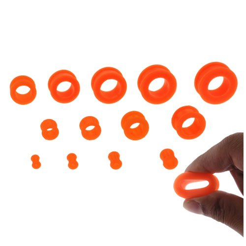 Plugs 6G UV Silicone Orange Double Flare Flexible Ear Plugs 6 Gauge 2 Pieces