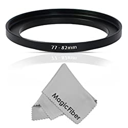 Goja 77-82MM Step-Up Adapter Ring (77MM Lens to 82MM Accessory) + Premium MagicFiber Microfiber Cleaning Cloth