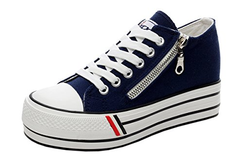 iMaySon(TM) Womens Casual Zipper Decorated Lace-up Canvas Platform Shoes(5.5 B(M) US, Navy) (Movies That Begin With B)