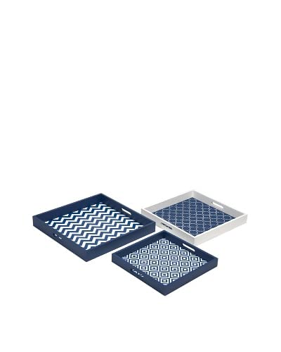 Set of 3 Essentials Graphic Trays, Navy